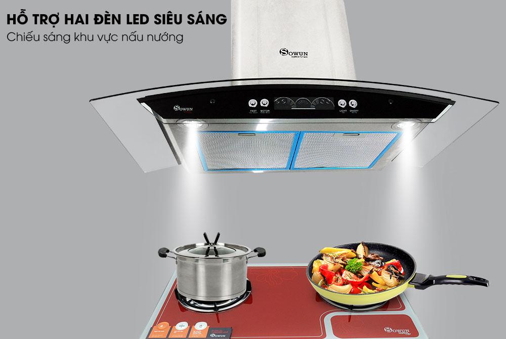 đèn led máy hút mùi nhà bếp Sowun SW 6561S