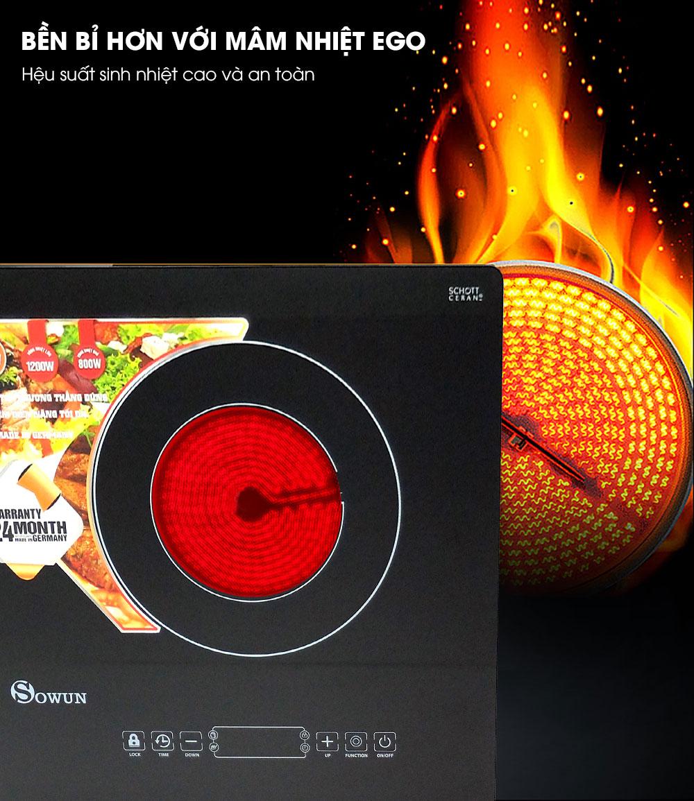 mâm nhiệt bếp đôi hồng ngoại Sowun SW 1219